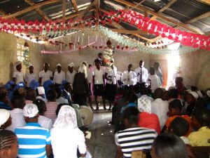 Young people singing.